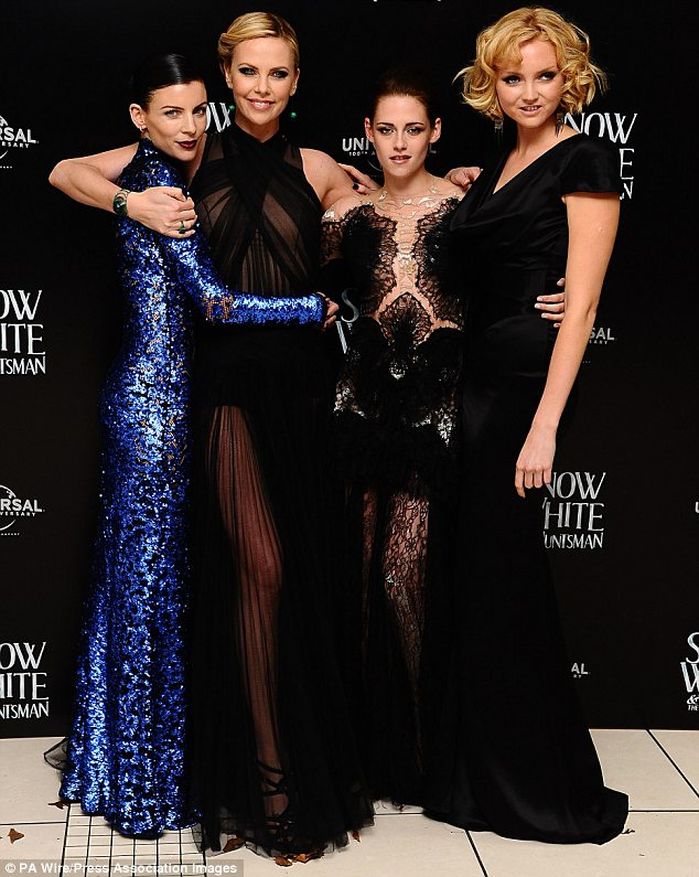 Co-stars: Liberty, pictured with (L-R) Charlize Theron, Kristen, and Lily Cole, played Kristen's mother in the fantasy film