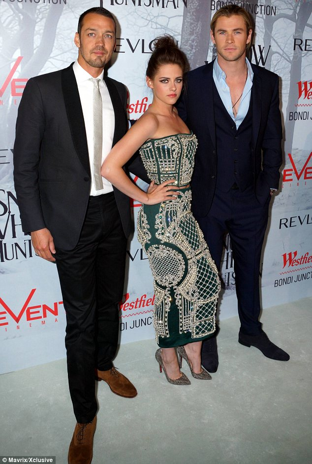 Getting close: Rupert and Kristen (pictured at the Australian premiere with Chris Hemsworth), spent a lot of time together due to commitments with the film