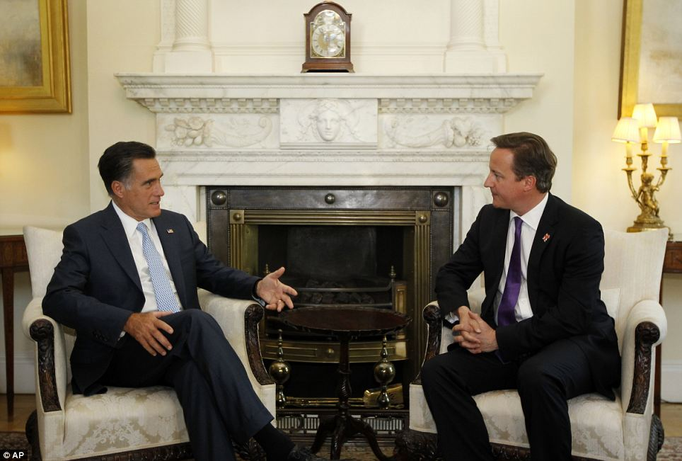 Mitt Romney meets David Cameron at Downing Street today. He said he recognised the 'unique relationship' which exists between Britain but called into question the commitment of the British people to the Olympics