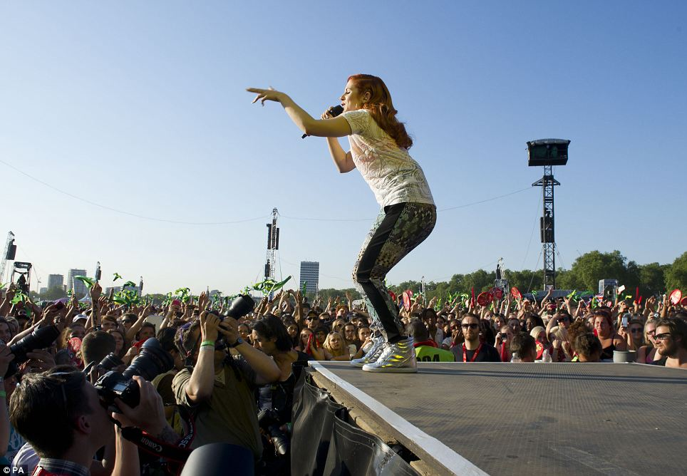 Mission accomplished: Katy B sings for fans at the Olympic gig