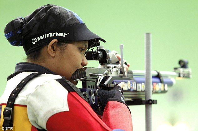 Malaysian air rifle shooter Nur Suryani Mohamed Taibi in action during a competition in Subang, Malaysia.