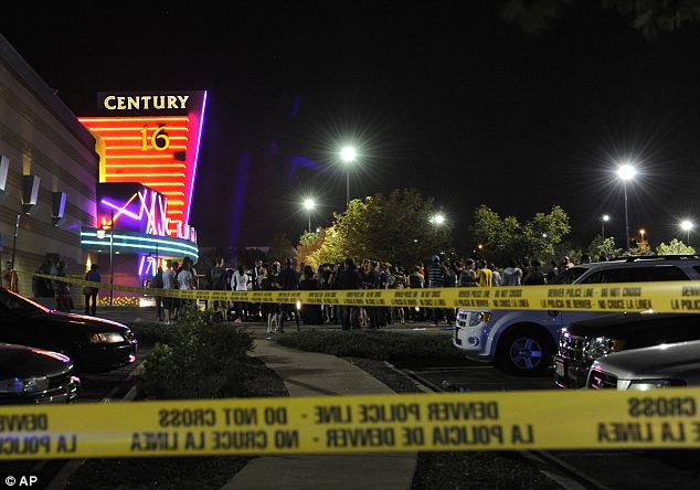 After the shootings at a cinema in Aurora (pictured) , sales of guns rose by 41 per cent