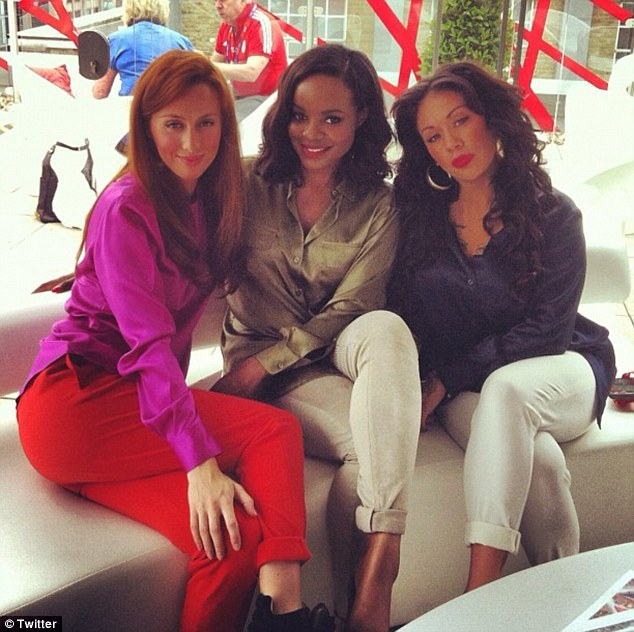Back together: The original Sugababes, now named Mutya, Keisha and Siobhan show they're back to the best of friends as they travel to the Olympics Opening Ceremony