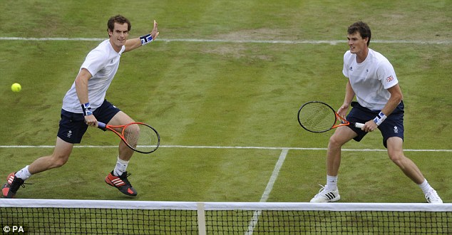Family affair: Andy Murray (left) and brother Jamie (right) teamed up for the Games