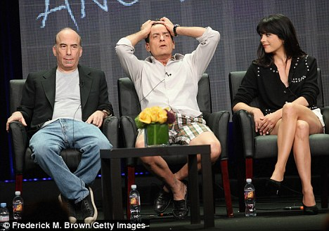 Selma and executive producer Bruce Helford listened intently to Charlie Sheen as he joked around at the Anger Management panel