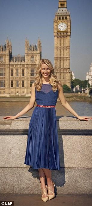 blue pleated dress, £35, Fennwrightmanson.com, beige pointed shoes, £85, Dune.co.uk, red chain belt, £17.99, zara.com