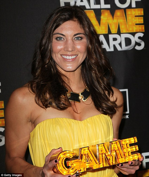 Soccer player Hope Solo poses in the press room during the 2nd Annual Cartoon Network Hall of Game Awards in Santa Monica, California