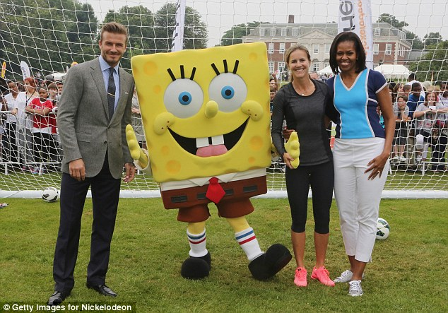 David Beckham, Nickelodeon's Spongebob Squarepants, Brandi Chastain and First Lady of the United States, Michelle Obama celebrate Nickelodeon joins Let's Move for 'Let's Move London' on Friday 27th July