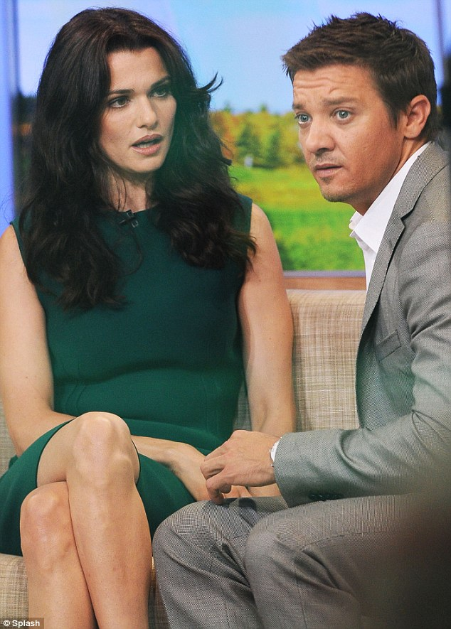 Question time: She was joined by co-star Jeremy Renner as they sat down ready for their chat