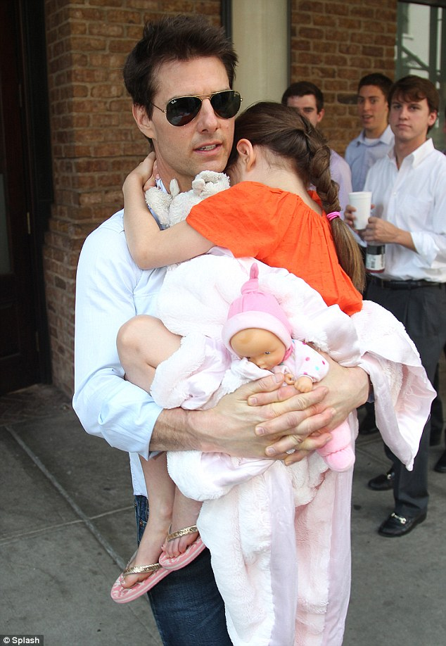 Daddy time: Tom Cruise, last spotted with Suri on July 18, is said to have 'generous visitation rights' with his daughter as part of the divorce settlement