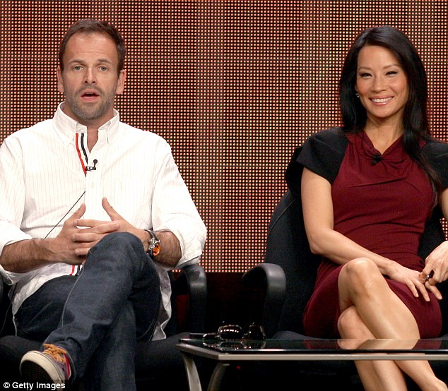 Promo rounds: Jonny Lee Miller and Lucy Liu speak at the Elementary discussion panel during the CBS portion of the 2012 Summer Television Critics Association tour at the Beverly Hilton Hotel