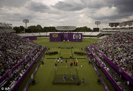 The incident happened during the men's team archery competition at Lord's Cricket Ground on Saturday