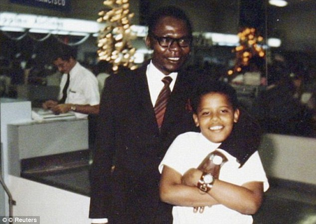 Future president: Obama is pictured in the 1960s with his father, Barack Obama Sr, who was from Kenya