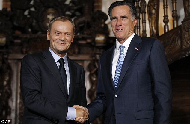 First impressions: Republican presidential candidate, former Massachusetts Governor Mitt Romney meets with Poland's Prime Minister Donald Tusk
