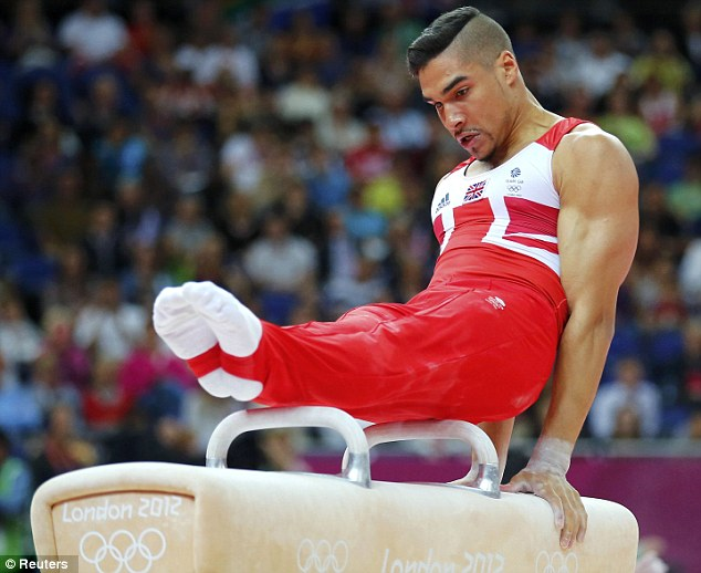 Balance: The British star helped Team GB achieve bronze during Monday's event