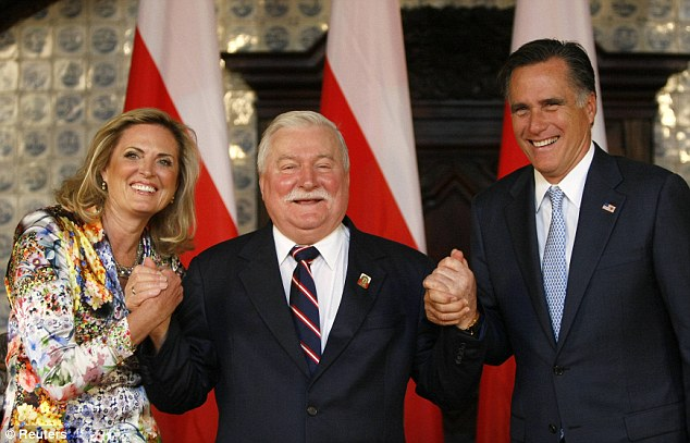Dignitaries: Mitt and Ann Romney met with former Polish President Lech Walesa during a visit to Gdnask, Poland, on Monday