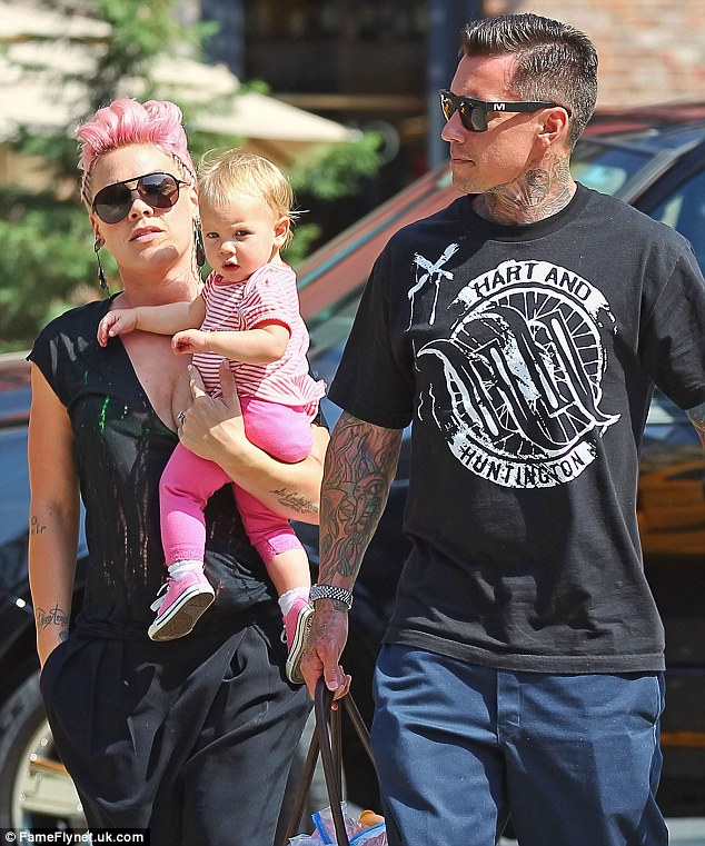 Happy families: Pink, Carey and Willow in New York City earlier this month