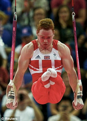 Dan's the man: Purvis competes on the rings