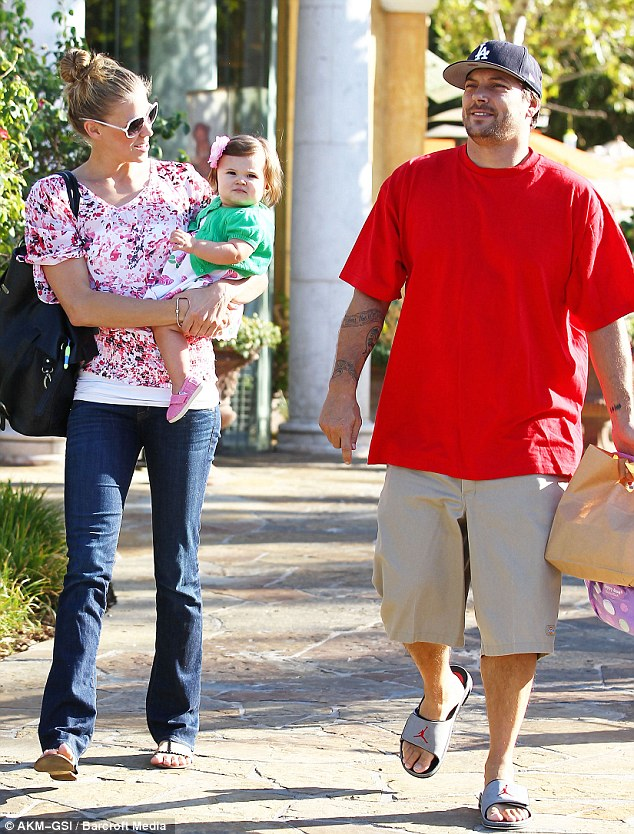 Daddy's little girl: Proud Kevin Federline takes his girlfriend Victoria Prince and their little cherub Jordan Kay out for lunch in Calabasas yesterday