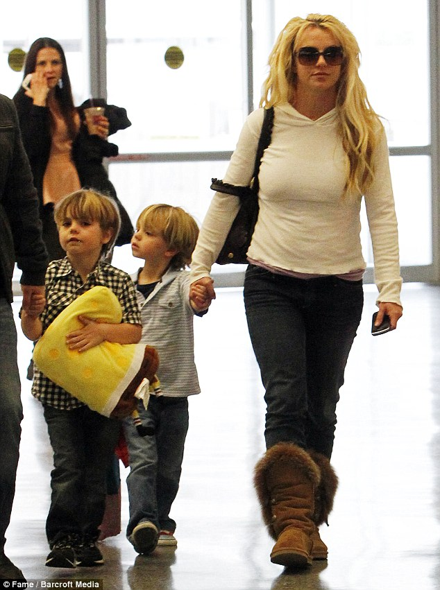 Big brood: Kevin also has two children with ex-wife Britney Spears including Sean Preston, six, and Jayden James, five, pictured here with their mother
