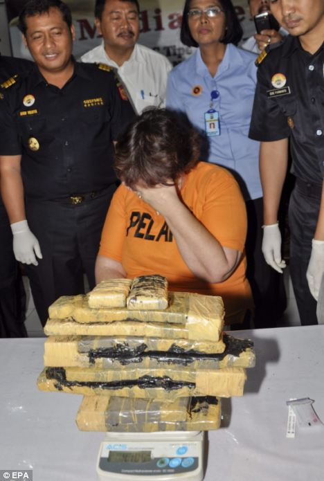 Caught in Bali: The latest arrests come just months after four Britons including Lindsay Sandiford (pictured), 55, were arrested after she was caught trying to smuggle 11 pounds of cocaine through customs
