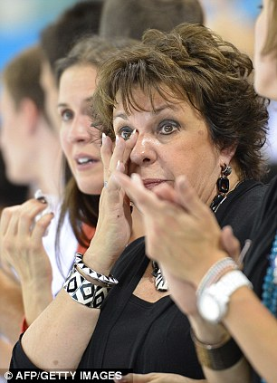 Debbis Phelps, mother of US' Michael Phelps cries during the men's 4x200m freestyle relay final swimming event at the London 2012 Olympic Games on July 31, 2012 in London.