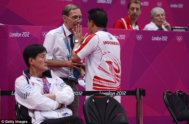 Heated: A coach for Indonesia argues with the tournament referee
