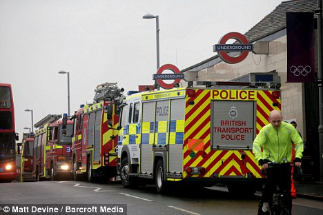 Ongoing problems: Tube services into the Olympic Park were suspended on Tuesday after a train caught fire at Leyton