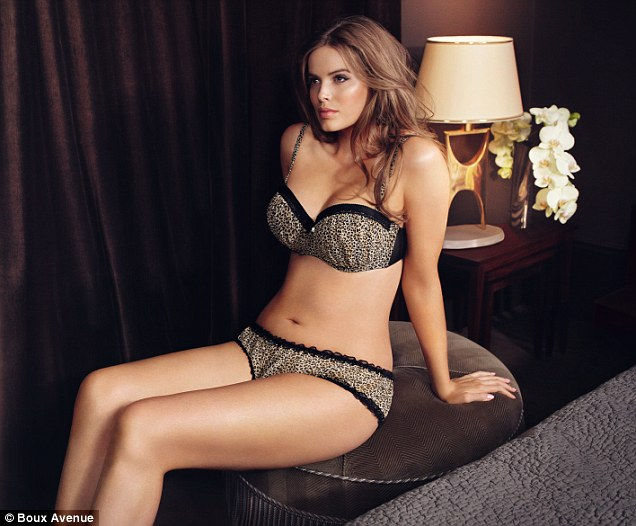 Robyn models the Boux Avenue Georgia Bra in Leopard, £26, and matching briefs, £12,