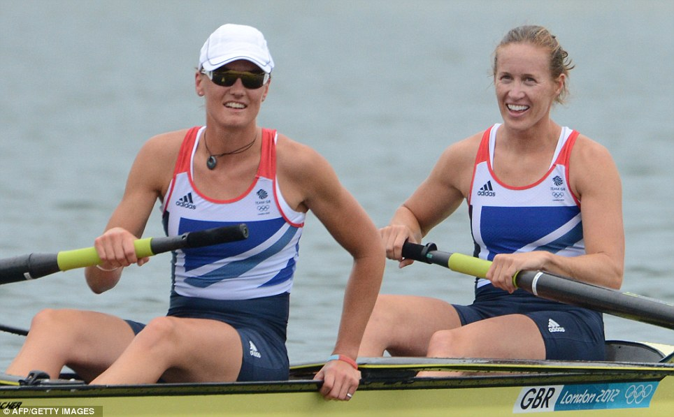 All smiles: Relief and delight for Helen Glover (right) and Heather Stanning after their commanding victory in the women's pairs final