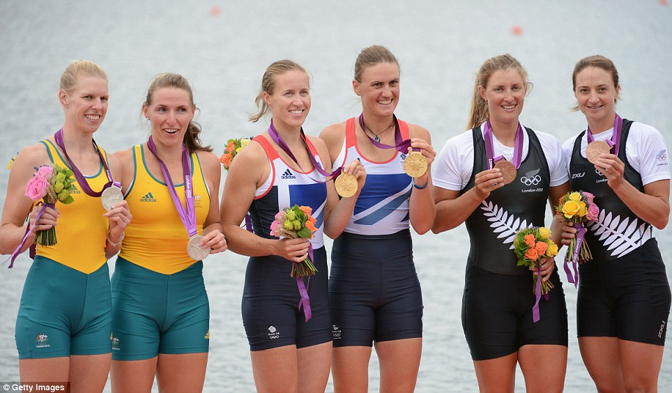 Sarah Tait and Kate Hornsey of Australia (left) took the silver medal, with Rebecca Scown and Juliette Haigh of New Zealand (right) winning bronze