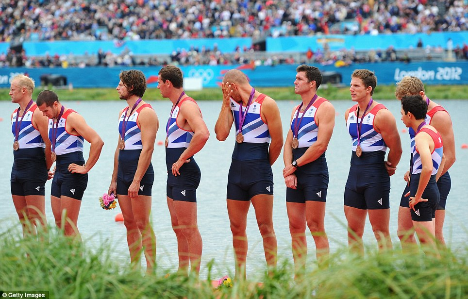 The British eight don't look particularly overjoyed to have picked up a bronze medal