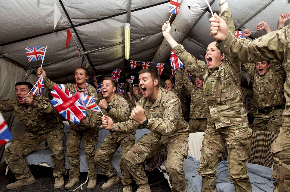 The 32 Regiment Royal Artillery, currently deployed in Afghanistan, roared with excitement as they watched their captain Heather Stanning in action this morning
