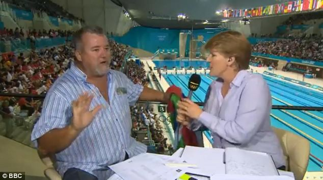 Bert Le Clos apologises after Clare Balding tells him he is on live television