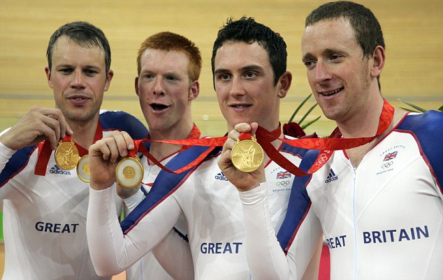 Four-some: The Britishg quarter celebrate victory at the Beijing Olympics