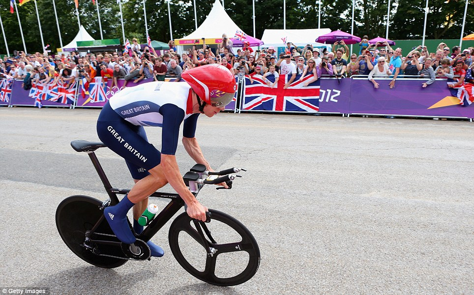 By the time Wiggins crossed the finish line he was so far ahead of the other riders, he was all but guaranteed the gold medal
