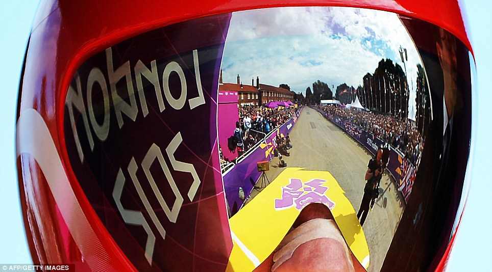 Wiggins' view moments before the off in the time trial. The riders dropped down a yellow ramp onto the 27.3 mile course