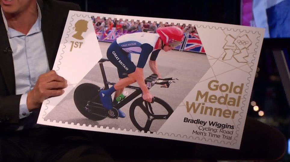 The Royal Mail unveil a new stamp as a tribute to Bradley Wiggins gold in the Men's Time Trial