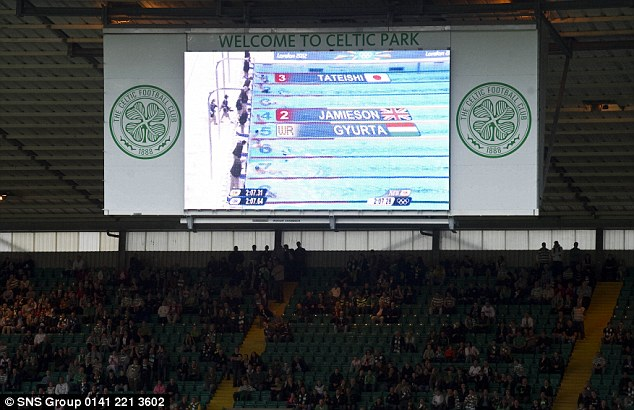 Big screen treatment: Michael Jamieson is a Celtic fan and supporters at Parkhead watched him race