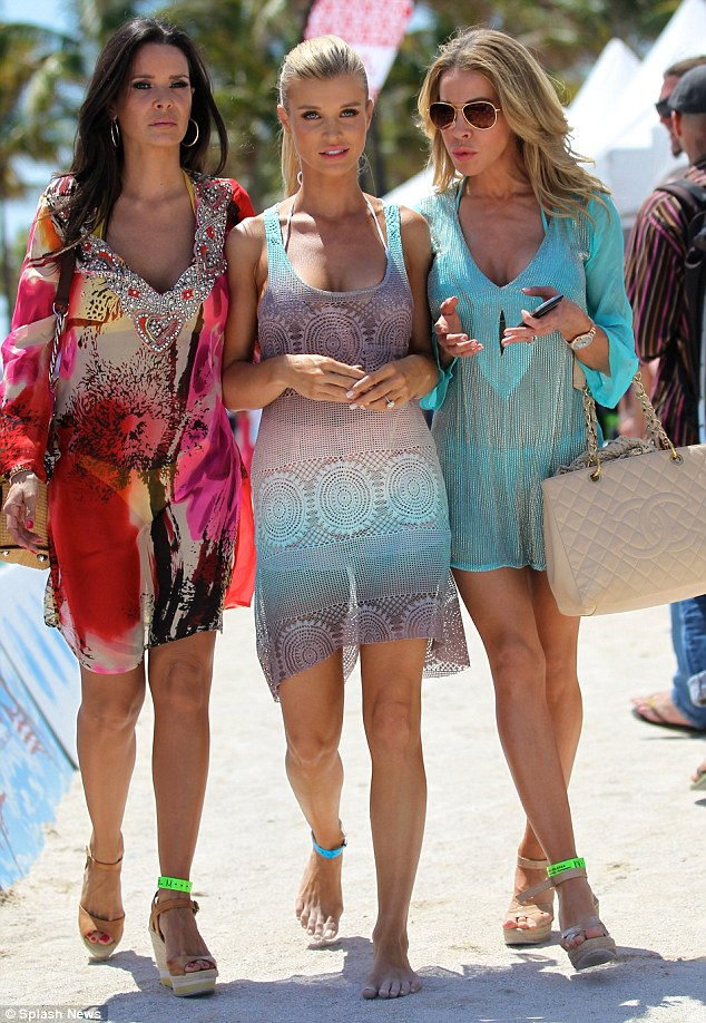Friends or foes: Joanna was seen at the same beach volleyball event with her fellow housewives Karent Sierra and Lisa Hochstein