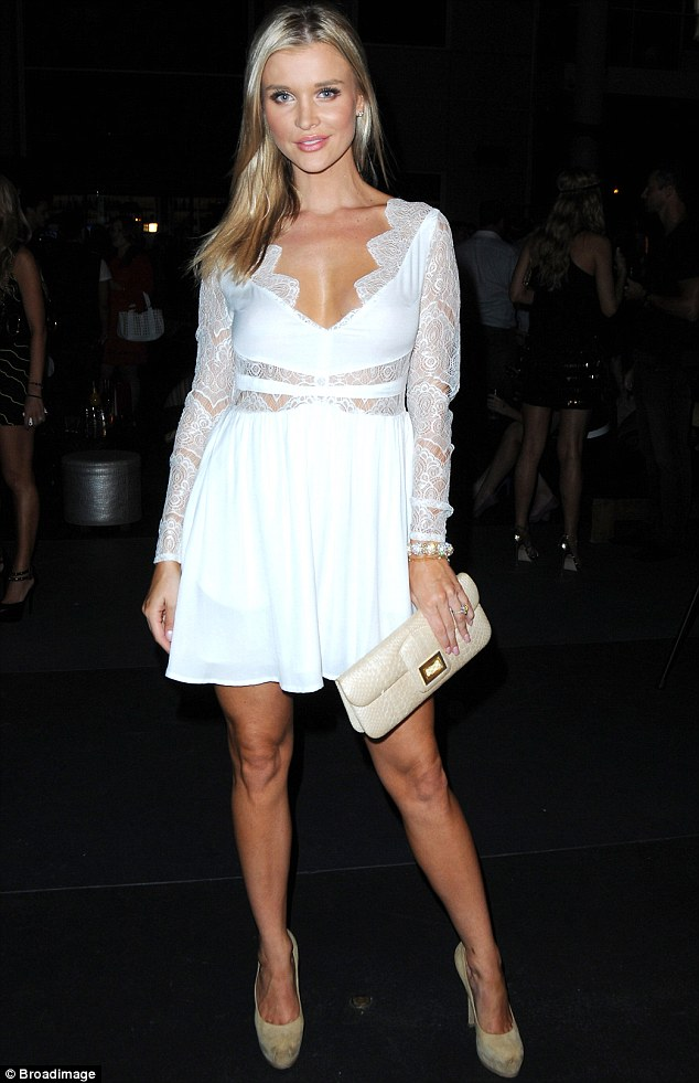 A body to die for: The reality star's lacy attire displayed plenty of the blonde's decolletage and never-ending legs