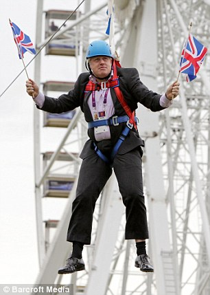 Mayor of London Boris Johnson after he gets stuck on a zip-line during BT London Live in Victoria Park on August 1