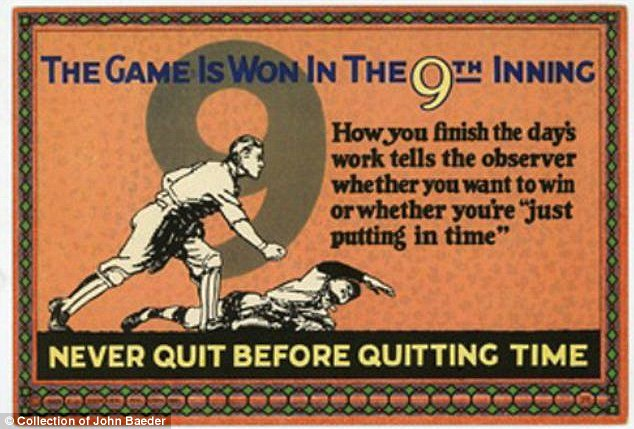 Sports analogy: This turn-of-the-century card comparing a work day to a baseball game carries a message that still holds true today