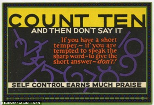 Oldy but goody: This early motivational card eloquently sums up an idea as old as time: Think before you speak