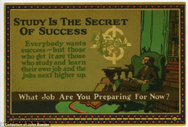 Secret of success: This motivational card seeks to inspire workers to achieve success by looking ahead to the next phase in their career and preparing for it