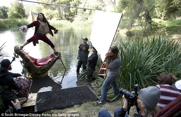 Recreation: Brand re-enacted the famous scene where Captain Hook is accosted by a crocodile for the advertising campaign