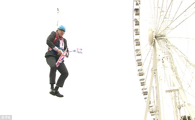 Adopting a Buzz Lightyear posture and waving two Union Jacks, he set off from a 150ft high tower and headed earthwards along the 1,000ft wire. Everything was proceeding spiffingly. Then he stopped