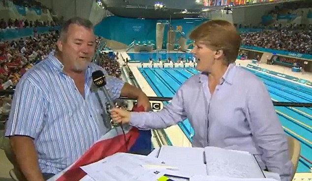 Supreme: Balding is always focused, briefed, knowledgeable and accomplished. Her chat with South African swimmer Chad le Clos¿s father, pictured, was a joyous classic