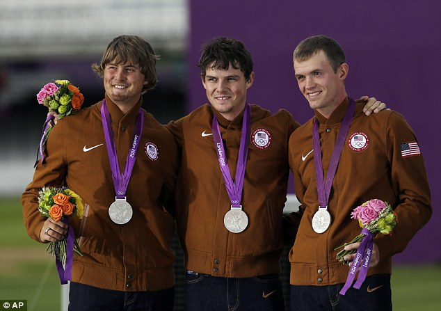Bullseye: From left, Brady Ellison, Jake Kaminski and Jacob Wukie won silver for the U.S. in the team archery competition