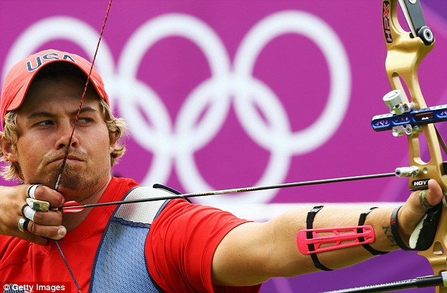 Focus: U.S. athlete Brady Ellison, pictured competing yesterday, draws back an arrow; the sport of archery has seen a tremendous spike this year
